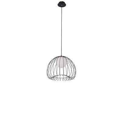 PENDENTE Bella ML004B LAMP Aramado Preto Branco 38cm x 33cm  1xG9 BIVOLT