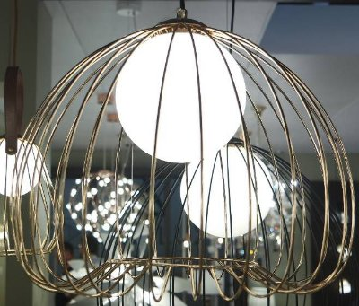 PENDENTE Bella ML004G LAMP Aramado Dourado Branco 38cmx33cm  1xG9 BIVOLT FRENCH