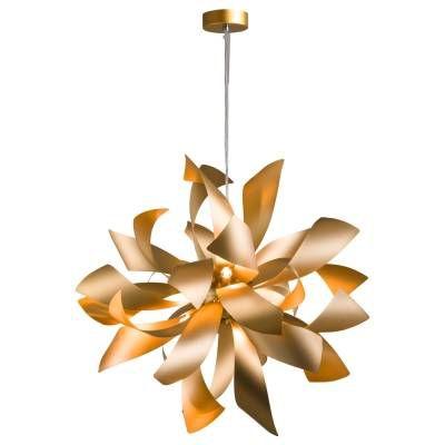 PENDENTE Bella RE001G ATMO Folhas Moderno Floral Dourado A65xL65xC180xD65  6xG9