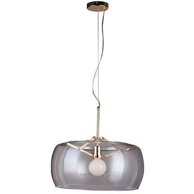 PENDENTE Bella RE003GC NOBU Cupula Redonda Vidro Dourado Transparente 50cm x 31cm  1xA60 40W FRENCH
