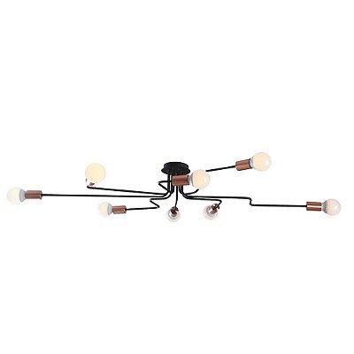 PLAFON Bella XN010L NYURON Hastes Lampada Filamento Cobre Preto 136cm x 61cm x 17cm  8 x A60 40W