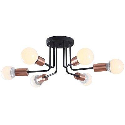 PLAFON Bella XN011S NYURON Hastes Lampada Filamento Cobre Preto 48cm x 19cm  6 x A60 40W