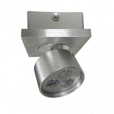 SPOT Bella YD2581 SOBREPOR OTIC Direcional Moderno Aluminio Escovado Preto 1XLED 3X1W