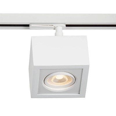 Spot Trilho Newline 561AB BOX LED Quadrado Clean 5W 3000K Luz Quente 375LM 127/220V 115X115X114MM ADAPTADOR BRANCO