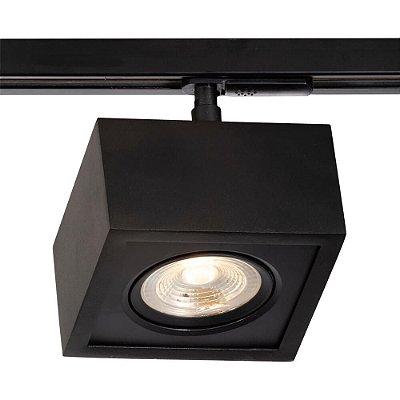 Spot Trilho Newline 562AP BOX LED Quadrado Clean 7W 3000K Luz Quente 525LM 127/220V 125X125X114MM ADAPTADOR PRETO
