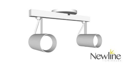 SPOT Newline IN55626 LISSE II Sobrepor Duplo TRILHO 2 PAR16  50W 320X150X155MM