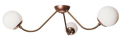 Plafon Sobrepor AURA 16555/3 Usina Design Vintage com GLOBO DE VIDRO  Ø120mm X Ø73,5x17,5CM X 3 - G9