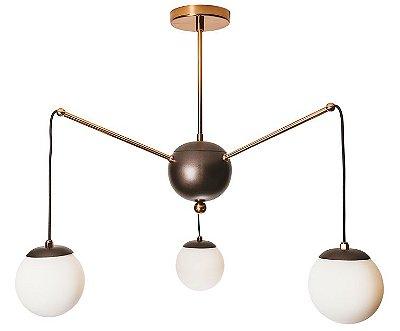 PENDENTE CHARM Usina Design 16535/3 Triplo Moderno com GLOBOS 12cm (c/ haste) x Ø65x58cm x 3 - G9
