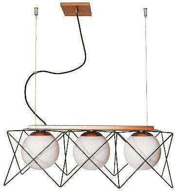 PENDENTE FENCE 17180/3 Usina Design Triplo Aramado Com Globo de Vidro Moderno x 19x56x20x 1m Cabo x 3-E27 - G45