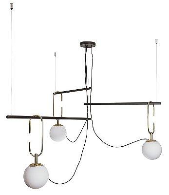Pendente Usina Design QUIRON 16606/3 GANCHO 23cm HASTE Linear 55cm Moderno Globo de Vidro x 104 x 59 x 40 x 1m x 03 - E27