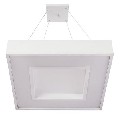 Pendente Usina Design MEG LED Quadrado Difusor ACRÍLICO Ilum. Direta Indireta x 36x36x1m cabo x LED24,4W 3000K/BIVOLT 19031/36 LED3