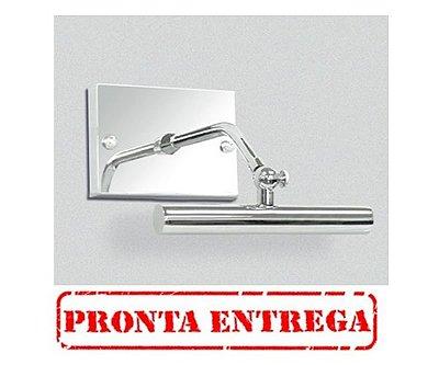 PRONTA ENTREGA /  Arandela para Espelho Quadro Canopla Retangular Cromada Calha Inox 16cm Golden Art Halógena P371-A Banheiros e Salas