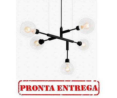 PRONTA ENTREGA /  Lustre Golden Art Cinque P Black Preto com Cúpula Globos de Vidro