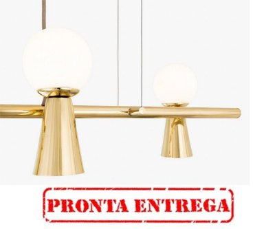 PRONTA ENTREGA / Lustre Pendente Golden Art Pivô 5 Lâmpadas Dourado