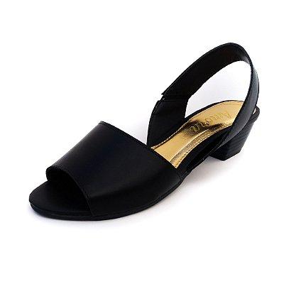 Sandália de Salto em Couro Sophie Preta