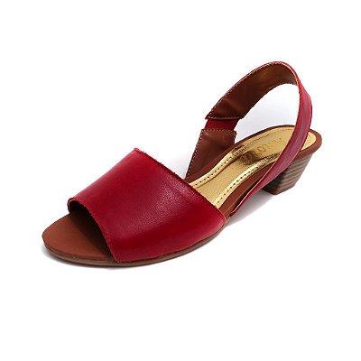 Sandália de Salto em Couro Sophie Vermelha