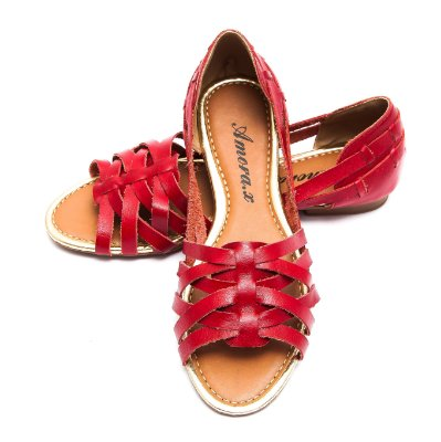 Sandália Rasteira Couro Confort 741 Vermelha