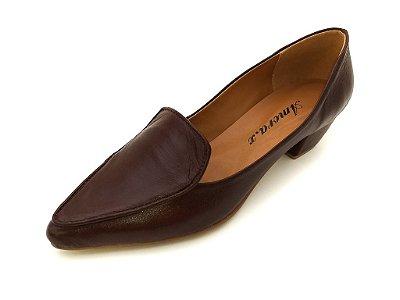 Sapato de Salto em Couro Veneza Marrom
