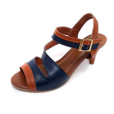 Sandália de Salto em Couro Ive Azul Marinho com Caramelo