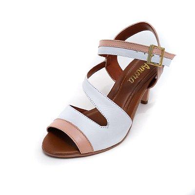 Sandália de Salto em Couro Ive Branco com Rosa