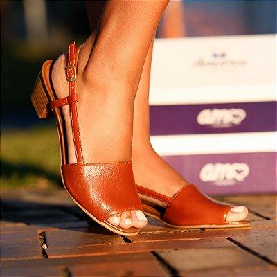 Sandália de Salto em Couro Mimi Caramelo