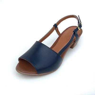 Sandália de Salto em Couro Mimi Azul Marinho