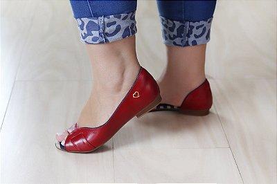 Sandália Rasteira em Couro Lily Vermelha