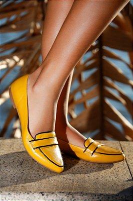 Sapato em Couro Mocassim Mostarda