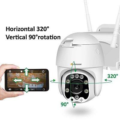 Câmera de segurança externa ptz WiFi APP no smartphone