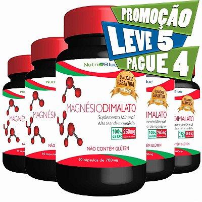 Promoção 5 Frascos - Magnésio Dimalato 700mg Nutriblue