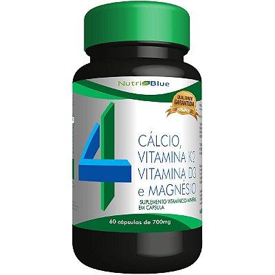 Suplemento Quarteto Vitamínico - Calcio, Vitamina K2, Vitamina D3 e Magnésio Nutriblue