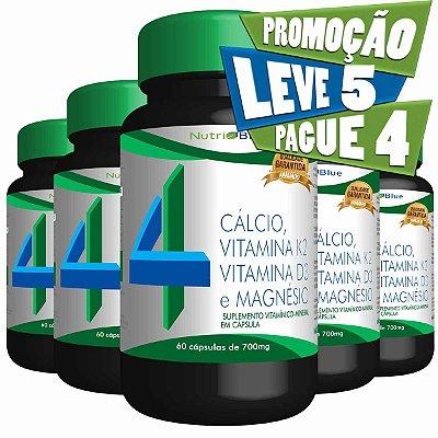 Promoção 5 frascos - Quarteto Mágico Vitamínico - Calcio, Vitamina K2, Vitamina D3 e Magnésio