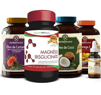 Kit Quarteto Mágico Nutramagic Com Magnésio Puro Quelato + Vitamina d3 Nutriblue
