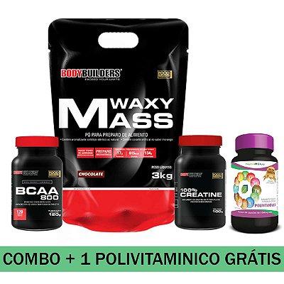 MEGA COMBO - 01 WAXY MASS 3KG + 01 BCAA 800 + 01 100% CREATINE + 01 POLIVITAMINICO