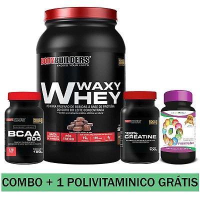 MEGA COMBO - 01 WAXY WHEY 900G + 01 BCAA 800 + 01 100% CREATINE + 01 POLIVITAMINICO NUTRIBLUE