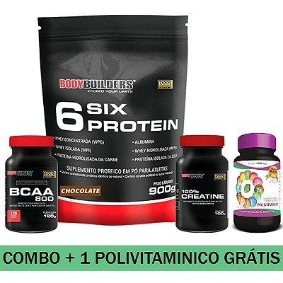 MEGA COMBO - 01 SIX PROTEIN 900g + BCAA 800 + 01 100% CREATINE 100g + 01 POLIVITAMINICO