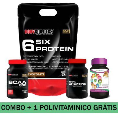 MEGA COMBO - 01 SIX PROTEIN 2KG + BCAA 800 +01 100% CREATINE + 01 POLIVITAMINICO NUTRIBLUE