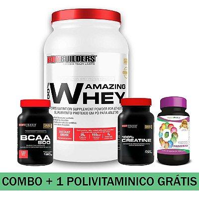 MEGA COMBO - 01 100% AMAZING WHEY 900g + 01 BCAA 800 120tab + 01 100% CREATINE 100g + 01 POLIVITAMINICO NUTRIBLUE