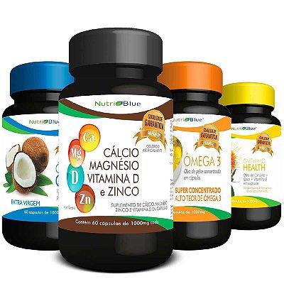 01 Kit Trio Mágico Nutriblue + Cálcio, Magnésio, Vitamina D3 e Zinco