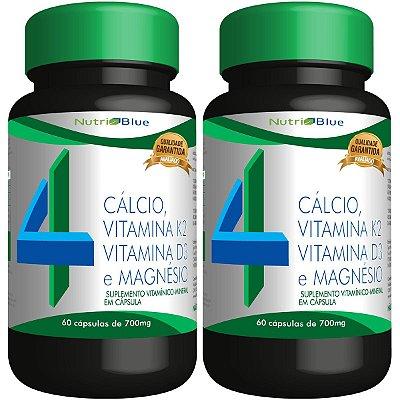 02 Suplemento Quarteto Vitamínico - Calcio, Vitamina K2, Vitamina D3 e Magnésio Nutriblue