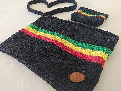 Kit Reggae Bolsa e Carteira de Crochê