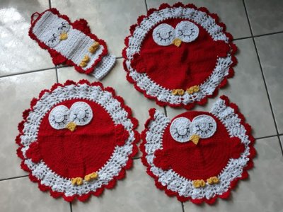 Tapetes de Crochê, Jogo de Banheiro, Coruja Redonda