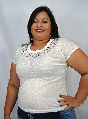bb3dfdd3e Blusa Plus Size Feminina Colarinho Miçanga