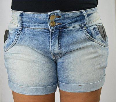 167a1bdcb Short Jeans Plus Size Feminino Detalhe couro