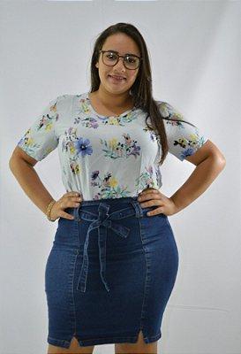 2d7b50c22 Saia Jeans Feminina Plus Size Amarração Frontal