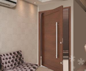Porta de aluminio cor madeira