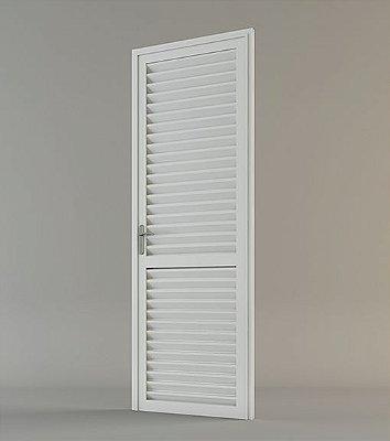 Porta em alumínio branco Veneziana 2,10 x 0,80
