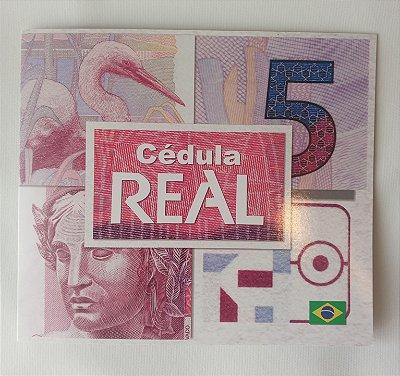 FOLDER PARA CÉDULA DE 5 REAIS + 1 CÉDULA DE 5 REAIS