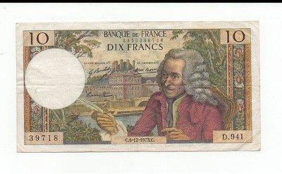 Cédula de 10 francos - FRANÇA 1973 MBC