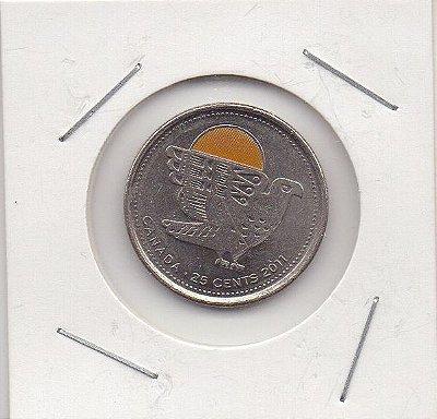 Moeda Canada - 25 Cents - Falcão Peregrino
